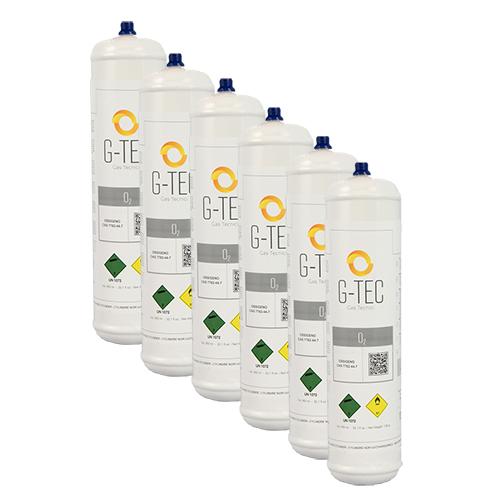 Bombola Ossigeno G-OXYGEN da 0,95 litri / 0,112 mc (112 litri) - confezione 6 pezzi