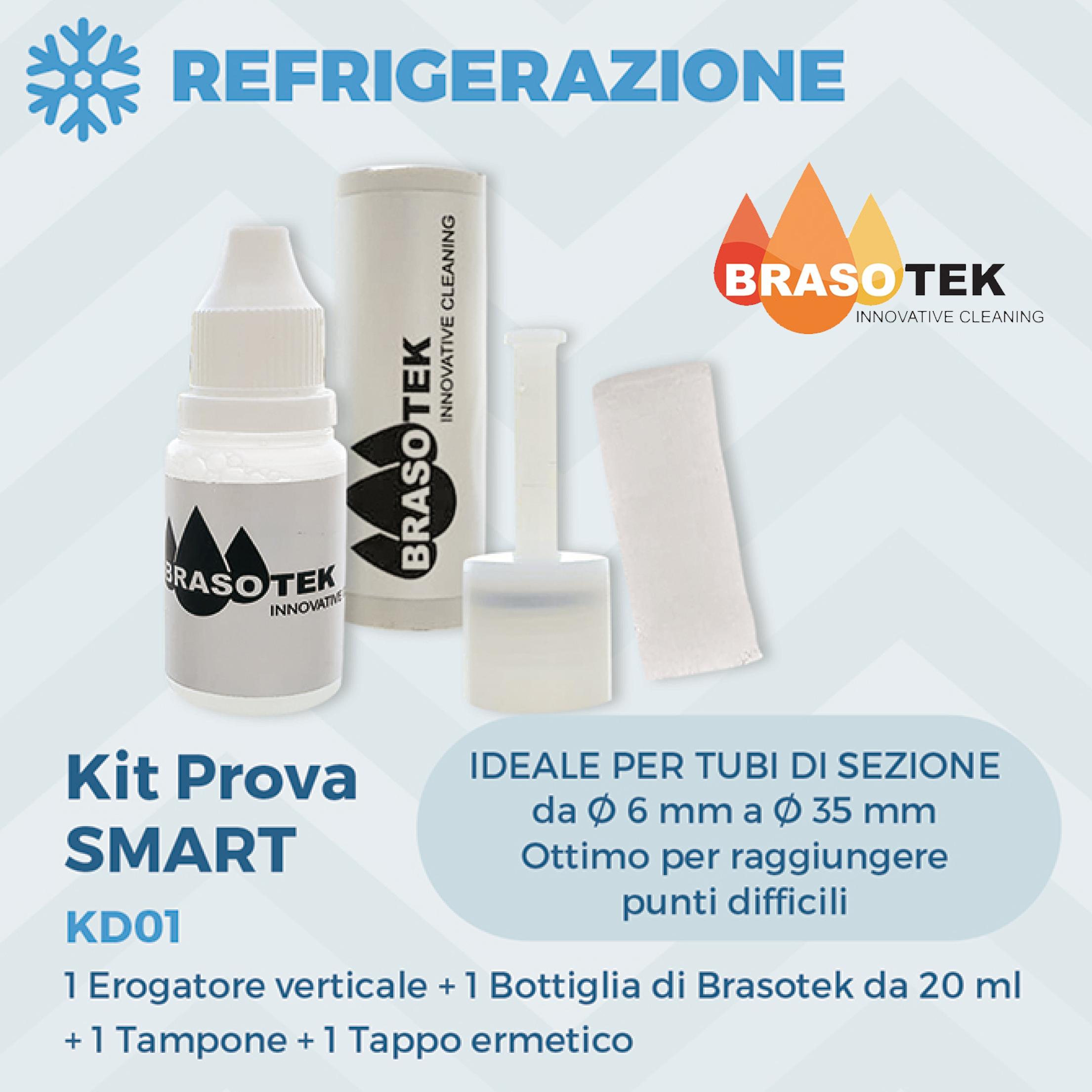 Brasotek - Kit Smart codice KD01 - Composto da 1 flacone da 20 ml, erogatore verticale, tampone, tappo ermetico - adatto per tubi diametro da 6 a 35 mm.