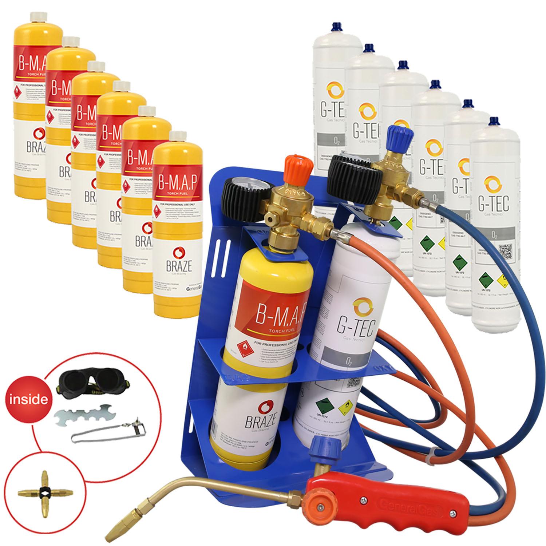 MAXIFLAME Kit saldobrasatura professionale + 7 bombole ossigeno + 7 bombole MAP (con riduttori pressione e manometri) - temperatura fino a 3.100 °C