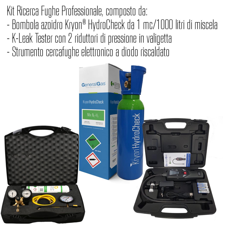 Kit Ricerca Fughe Professionale (Refrigerazione e Condizionamento) composto da bombola azoidro Kryon® HydroCheck da 1 mc/1000 litri di miscela, K-Leak Tester e strumento cercafughe elettronico